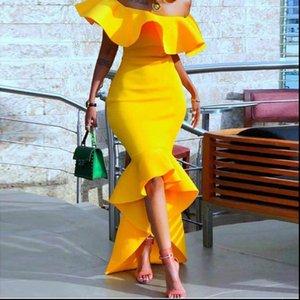 Sexy Womens Dress Off Shoulder Woman Yellow Long Bodycon Women Backless Ruffles Mermaid Evening Party Dresses Elegant Robe Femme
