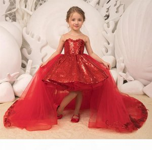Sparkle Sequins Little Girls Pageant Dresses 2019 Removable Tulle Train Ballgown Hi Lo Kids Christmas Birthday Party Gowns Flower Girl Dress