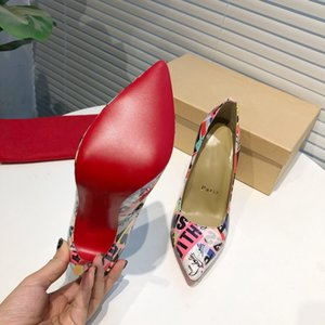 21 New red soled high-heeled dress shoes pumps with high quality he upper printing leather size 35-41