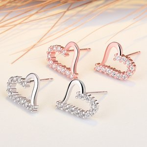 V-420 Korean Small Earring Fresh Jewelry Hypoallergenic Cubic Zirconia Love Heart S925 Silver Needles Stud Ear Girlfriend Gifts 216 W2