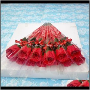 Wreaths Single Stem Flowers Artificial Rose Scented Bath Soap For Wedding Valentines Mothers Teacher Day Decorative Gift Esdle Cpdrz