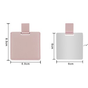 Sublimation Blank PU Leather Makeup Mirror Outdoor Portable Square Heat Transfer Mini Mirrors DIY Gift HHA8871