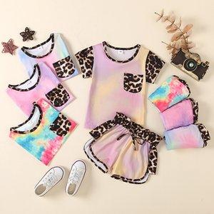 kids Clothing Sets girls outfits children Leopard Tie Dye Tops+shorts 2pcs set summer fashion Boutique baby clothes Z2799