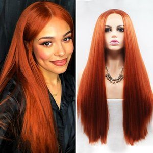 Synthetic Wigs Ginger Lace Front Long Yaki Straight Hair Glueless Pre Plucked Orange Red Frontal For Black Women