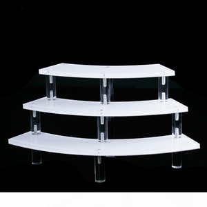 Multi-purpose Jewelry Display Stand Three Tiers White Clear Acrylic Boutique Shelf Crafts Pendant Bangle Gem Stone Exhibitor Customization