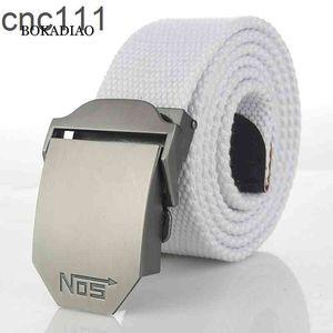 Bokadiao Menwomen Militärische Leinwand Luxus Metallschnalle Jeans Gürtel Weiße Armee Taktische Gürtel Für Frauen Taillengurt Männlich