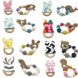 2PC Wooden Bracelet Natural Baby Rabbit Ear And Rattle Crochet Beads Animal Shape Teether Chew Toys