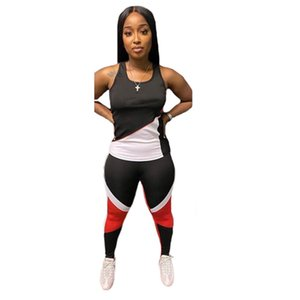 Women summer outfits two pieces sets jogger suits tracksuits sleeveless vest T-shirts +leggings fitness clothing plus size S-2XL black casual sportswear 4774