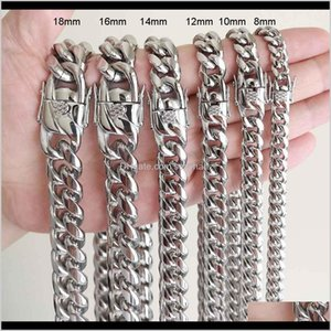 & Drop Delivery 2021 Men Women Cuban Chains Necklace Bracelet 316L Stainless Steel Jewelry Sets High Polished Hip Hop Choker Link Double Safe