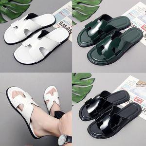 Luxury Genuine Leather slipper Men H Brand designer Rubber Slides fashion Beach Flat Sandals Shiny Slippers Black white green outdoor home F