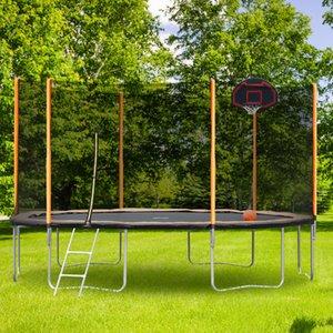 Гамаки 14-футовые порошкообразные продвинутый батут с баскетбольным обручам и лестницей (внешний защитный корпус)