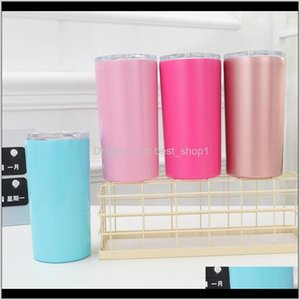 Drinkware Kitchen Dining Bar Home Garden Drop Delivery 2021 12Oz Straight Sublimation Skinny Tumblers 7 Colors Stainless Steel Vacuum Insulat