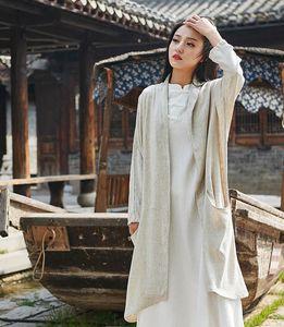 Women's Trench Coats Women Summer Autumn Solid Color Coat Outerwear Ladies Loose Female Linen 2021