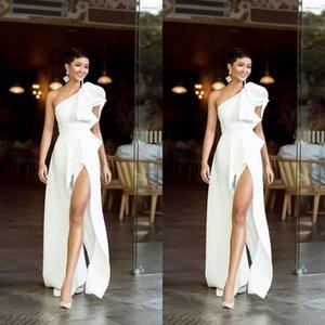 2021 Simple Pure White One Shoulder Evening Dresses Warm Formal Party Dress Elegant HIgh Split Prom Gowns Vintage Vestido De Festa
