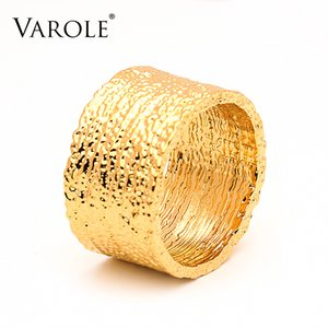 VAROLE Width Ring Gold Color Sand Stone Texture Statement Rings For Women Fashion Jewelry Bague
