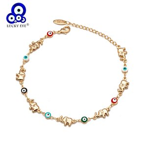 Lucky Elephant Multi Evil Eye Charm Copper Gold Chain Color Bracelet Adjustable to Women's Girls Jewelry Bd360