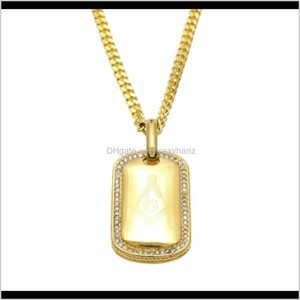 Necklaces & Pendants Drop Delivery 2021 Men Women Stainless Steel Dog Tag Army Military Card Masonic Pendant Fashion Punk Jewelry Gold Hip Ho