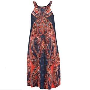 Summer Dress Women Halter Neck Boho Print Sleeveless Casual Mini Beachwear Dress Sundress Fashion Sexy Straight Skirt