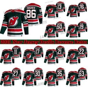 New Jersey Devils 2021 عكس الرجعية 76 P. K. Subban 86 Jack Hughes 50 كوري كروفورد 13 نيكو هيسمير الهوكي الفانيلة
