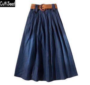 Skirts Cultiseed Jeans Clothing For Women High Waist Casual Denim Female Plus Size Big Swing Pleated Long