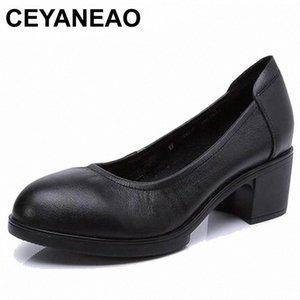 CEYANEAO 2019 Genuine leather women high heels pumps female OL COMFORTABLE black work shoes 34-41E1927 Y6t4#