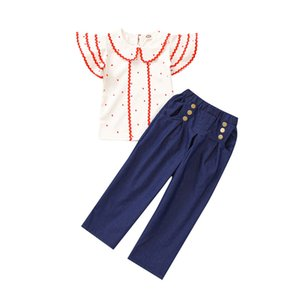 Kids Denim Sets Dot Printed Turn-down Collar Tops Girls Wave Lace Shirts Button Pocket Jeans Toddler Elastic Trousers Baby Casual Outfits 06
