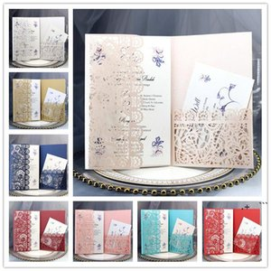 Personalized Wedding Invitation Cards Full Set Laser Cut Hollowed-out Pocket Greeting Cards For Engagement Birthday Party Wedding FWC7611