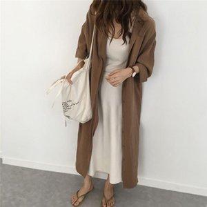 Женщины Vintage Long Blouse Большой размер Свободный поворот вниз воротник Одиночная грудка на коленном солнцезащитный крем Кардиган Пальто моды Вершина # Женское BLO