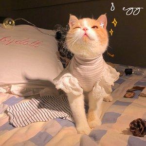 Lace Spring and Summer Fashion Cat Side Eight Egg Flying Sleeve Lotus Leaf Clothing Pet Dog Universal T-shirt M3XC