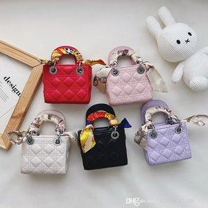 kids princess handbags sweet autumn winter embroidered thread silk Scarf children one shoulder bags baby girls chain crossbody bag F730
