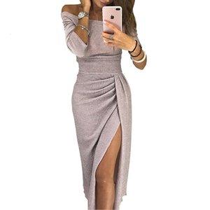 Hot Women's Dress Hip-covered Slit One-line Collar Dress