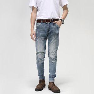 Men's Jeans American Street Fashion Men Retro Light Blue Elastic Slim Fit Ripped Biker Spliced Designer Hip Hop Denim Pants