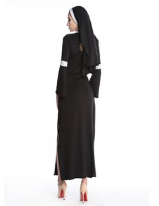 Wholesale-Sexy Nun Costume Adult Women Cosplay Dress With Black Hood Halloween Costume Cosplay Party Costume