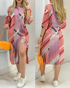 New style pocket button hit color dress female stitching printed shirt dresses v neck mid-length sleeve casual skirt