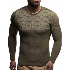 Mens Diamond Pattern Knitting Sweaters Fashion Trend Long Sleeve Round Neck Pullover Sweater Designer Male Autumn Slim Casual Bottoming Tops