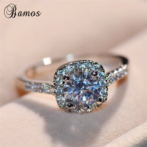 Dainty Finger Ring Promise Wedding Rings 925 Sterling Silver Filled CZ Couple Rings For Women Men Crystal Jewelry Gift