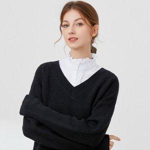 Bow Ties Women Ruffles Stand Detachable Shirt Collar White Fake Blouse Half Shirts Clothes Accessories