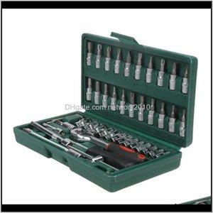 Screwdrivers 46Pcs Car Repair 14Inch Socket Wrench Combination Set Tool Kit Household Spanner Screwdriver Repairing S51Nm Hh6Cx