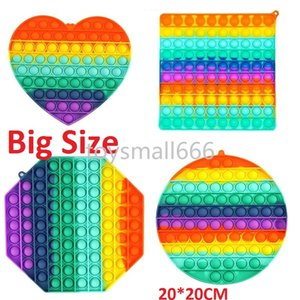 Big Size Rainbow Push Bubble Fidget Toys Squishy Stress Reliever Toys Adult Kid Funny Anti-stress Fidget Reliver