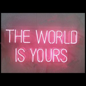 The World Is Yours Pink Christmas Gift Neon Signs Real Glass Tube Beer Bar Pub Bedroom Wall Home room Girl room Party Decor