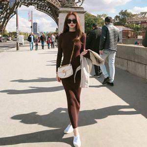 2020 Random Slender Maxi New Used Women Winter Hot Elasticity Trui O-neck Long Mouwen Potlead Party Dress Elegant Bodycon