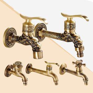 Bathroom Sink Faucets Carved Wall Mount Zinc Alloy Antique Bibcock Garden Wash Basin Faucet Decorative Outdoor Mop Water Tap