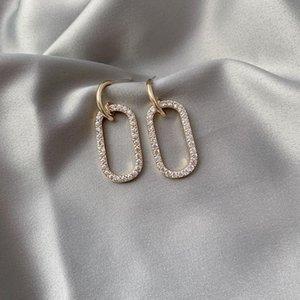 Dangle & Chandelier 2021 Contracted Korean Temperament Fine Crystal Drop Earrings Geometric Women Fashion Shiny