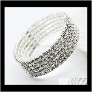 Drop Delivery 2021 Elastic Sier Plated Crystal Bangle Tennis Rhinestone Bracelets Luxury Shinning Bridal Wedding Jewelry For Women Girls Wxlu