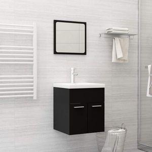 2 Piece Bathroom Furniture Set Black Chipboard