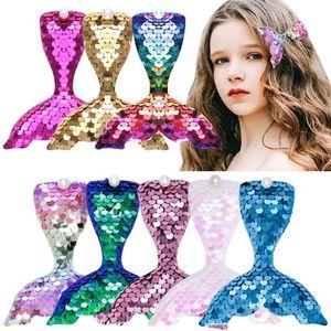 Cartoon Mermaid Hairpin Children Sequin Duckbill Barrettes For Women Girls Headdress Accessories