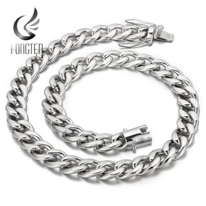 Chains Fongten Wide Big Cuban Chain Hip Hop Men Necklace Shiny Metal Polished Gold Stainless Steel Rock Band Trendy Necklaces Gift