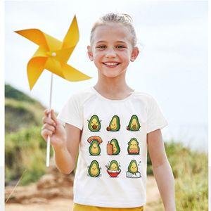 T-shirt Tops Short-sleeved Kids Print Summer Girl Clothes Avocado Has Fun Boys T-shirts Fruit Crew Neck Casual White Baby Tshirt