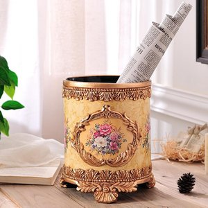 European Style Living Room No Trash , Fashion Home, Large Luxury Retro Circular Garden Waste Basket Resin Ice Buckets And Coolers