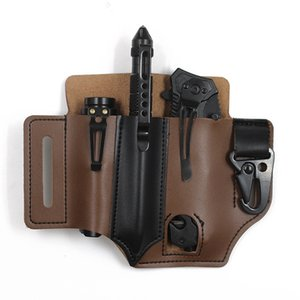 Tactical Multifunction Leather Sheath EDC Pocket Organizer Belt Tool Pouch Hunting Storage Bag